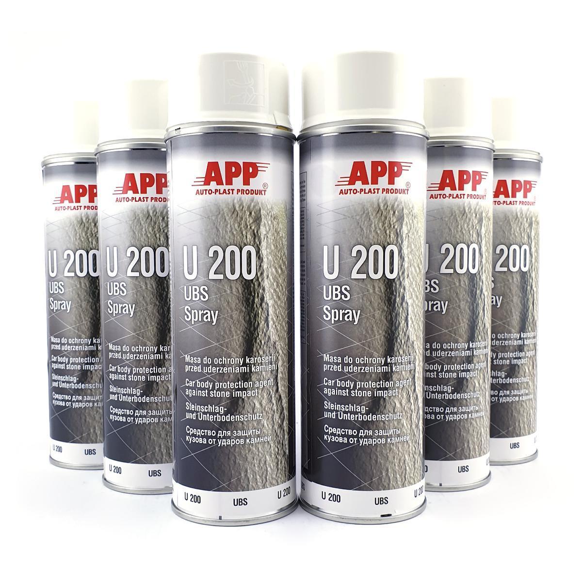 6x APP U200 Weiß Steinschlagschutz Unterbodenschutz 500ml Spray Rostschutz